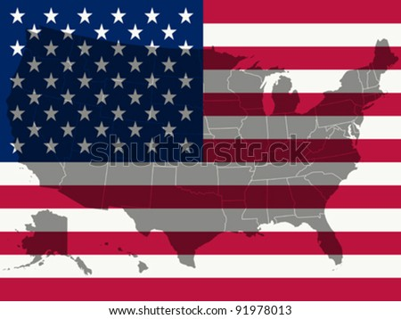 united states flag and map, abstract vector art illustration - stock vector