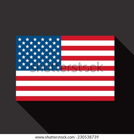 United States Flag on dark background - flat style poster - stock vector