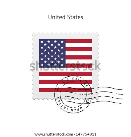 United States Flag Postage Stamp on white background. Vector illustration. - stock vector