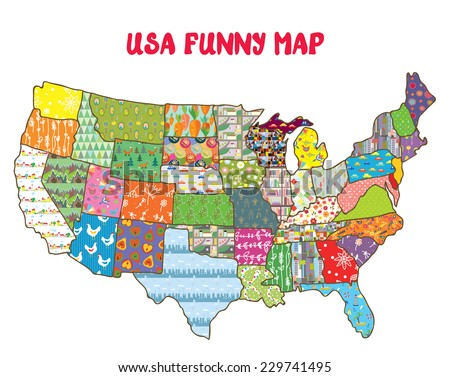 United States funny map with patterns - vector design for kids - stock vector