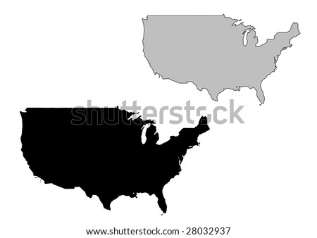United States map. Black and white. Mercator projection. - stock vector