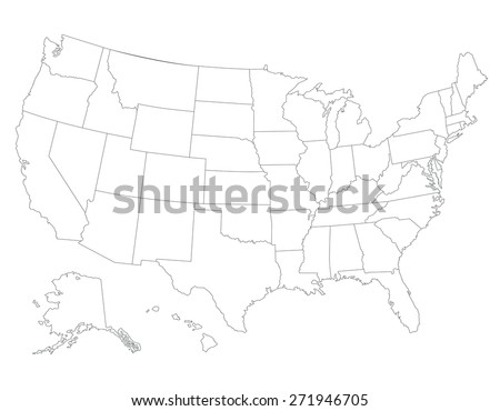 United States map, High detailed border - stock vector