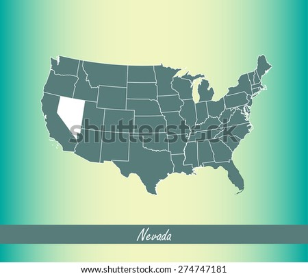 United States map outlines with highlighted State of Nevada in an abstract design for web page template or construction, vector map of USA on an old paper background - stock vector