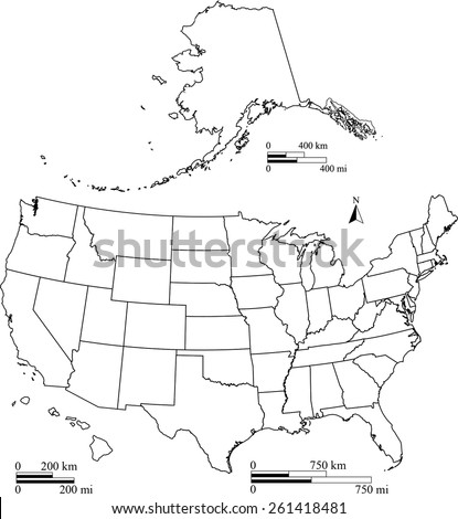 United States map outlines with kilometer and mileage scales, vector map of USA with boundaries or polygons of US states, map reference: http://nationalmap.gov/  - stock vector
