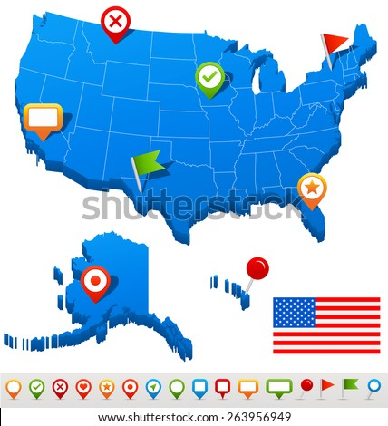 United States Map Vector illustration of USA map and navigation icons - stock vector
