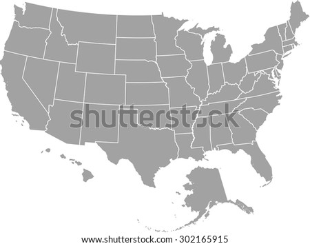 United States map vector, USA map outlines - stock vector
