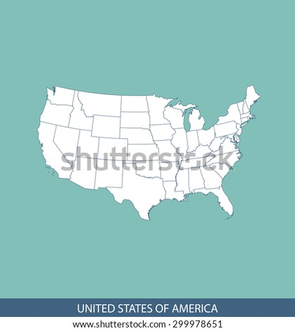 United States map vector, USA map outlines for science, brochure, and other publication uses - stock vector