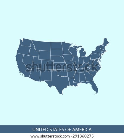 United States map vector, USA map outlines in a contrasted blue background for brochure and web-page templates and science & publication uses - stock vector