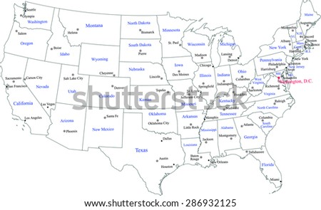 United States map vector, USA map outlines with states names, locations and names of capitals and main cities of states, and US capital location and name, Washington DC - stock vector