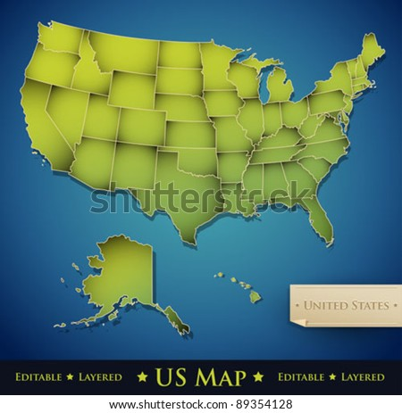 United States map with all 50 states separated - Vector - stock vector