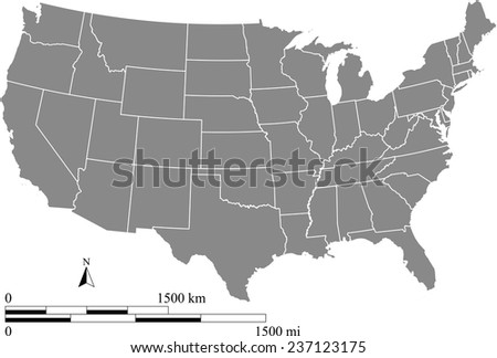 United States map with mileage and kilometer scales and boundaries or polygons of states, USA map outlines in grey color, vector map of US - stock vector