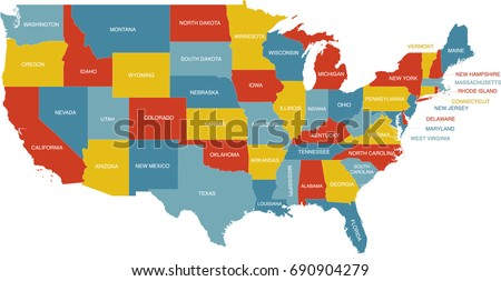 United States Map Labeled Postal Abbreviations Stock Vector - Us map with labels