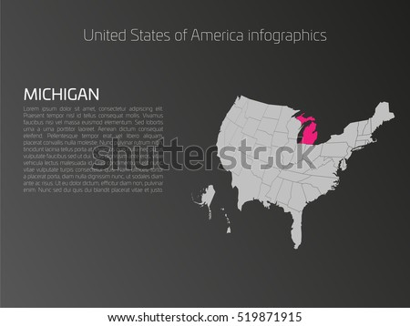 United States Of America Aka Usa Map Infographics Template 3d Perspective Dark Theme