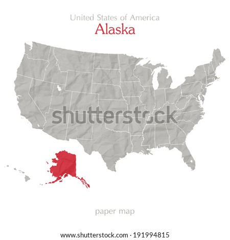 United States of America and Alaska map on paper texture  - stock vector