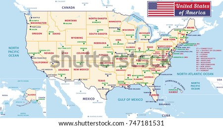 United States America Political Map Detailed Stock Vector - Map of united states of america with capitals
