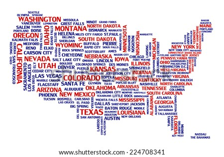 United states of america city map tag cloud concept print. National capital of countries and other USA cities area word collage text pattern, vector art image illustration isolated on white background