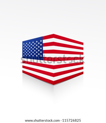 United States of America flag box on white - stock vector