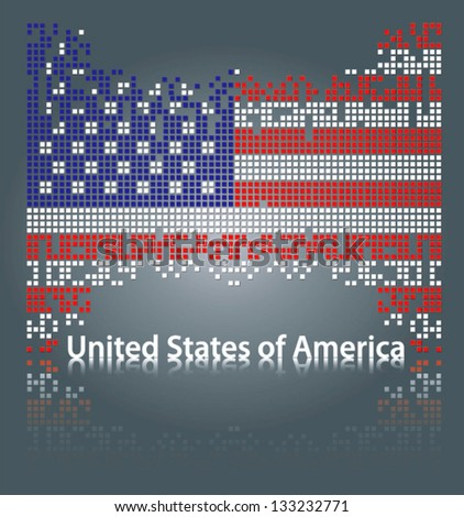 United States of America flag from square blocks, vector - stock vector