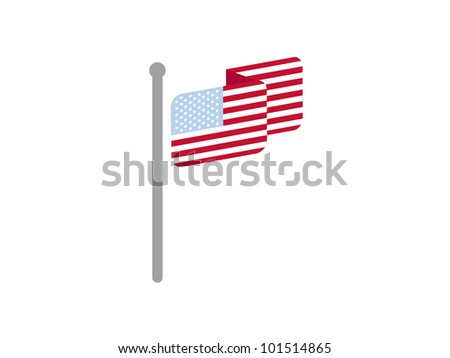 United States of America Flag hanging on pole. - stock vector