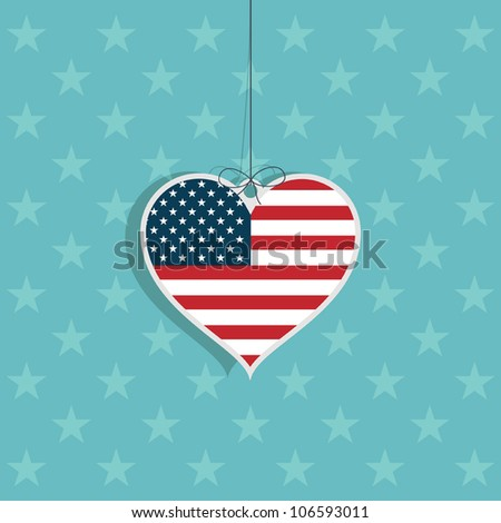united states of america heart hanging decoration on blue star background - stock vector