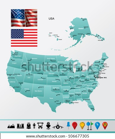 United States of America High detailed map with navigation and travel icons. - stock vector