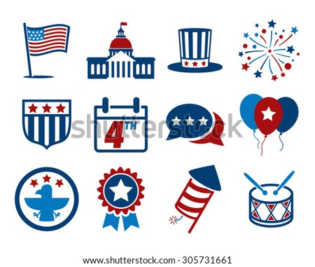 United States of America Independence Day icon set // 4 July  - stock vector