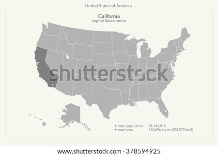 United States of America isolated map and California state territory. vector USA political map. geographic banner template - stock vector
