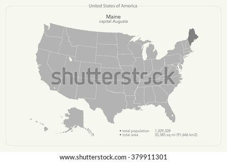 United States of America isolated map and Maine State territory. vector USA political map. geographic banner template - stock vector