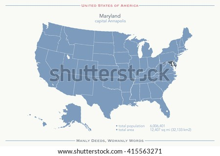 United States of America isolated map and Maryland State territory. vector USA political map. geographic banner design - stock vector
