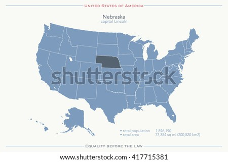 United States of America isolated map and Nebraska State territory. vector USA political map. geographic banner template - stock vector