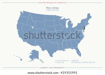 United States of America isolated map and New Jersey State territory. vector USA political map. geographic banner template - stock vector