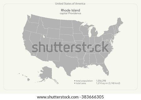 United States of America isolated map and Rhode Island State territory. vector USA political maps. geographic banner template - stock vector