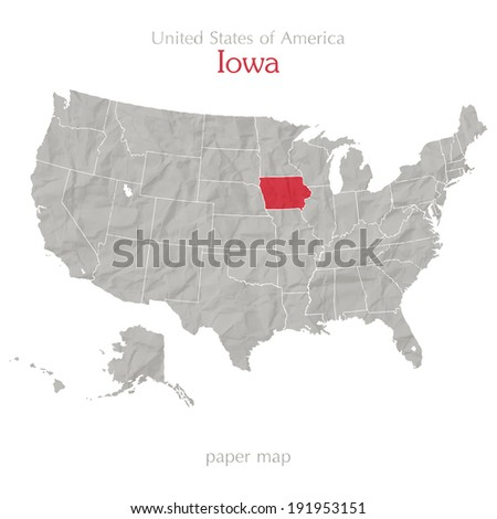 United States of America map and Iowa territory on paper texture - stock vector