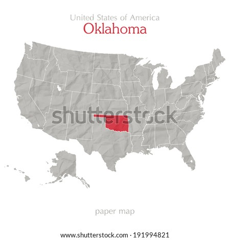 United States of America map and Oklahoma territory on textured paper - stock vector