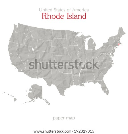 United States of America map and Rhode Island state territory on textured paper - stock vector