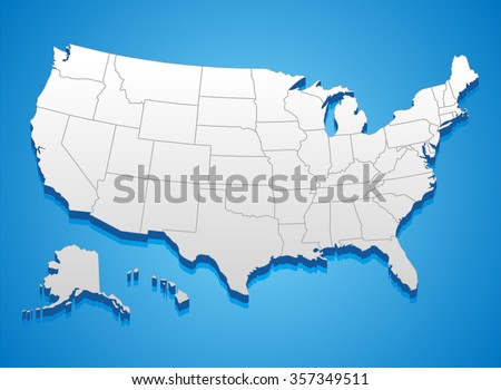 United States America Map 3d Illustration Stock Vector 357349511