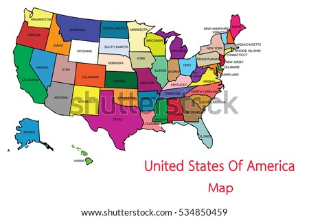 Usa Map Country United States America Stock Vector - United states of anerica map