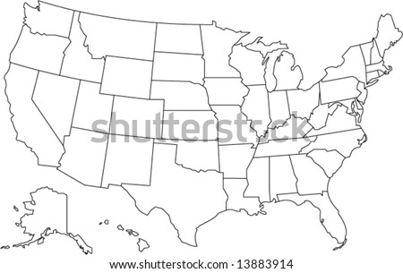 united states of america map in vector design - stock vector