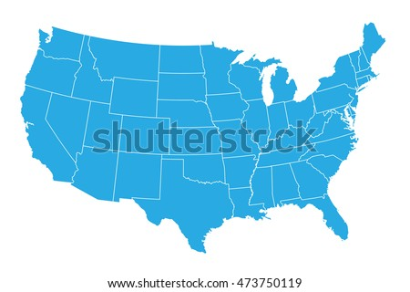 United states of america map isolated on white