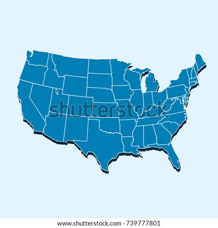 Blueprint Map United States America Vector Stock Vector - Map ofthe usa