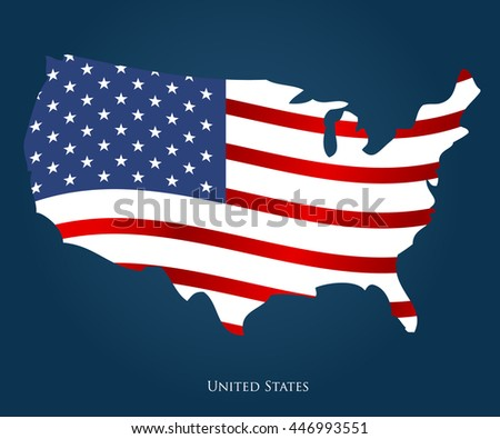 United States Of America Map Usa Vector Independence Day Background Stock Vector