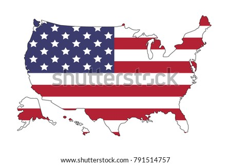 United States America Map Flag North Stock Vector 791514757