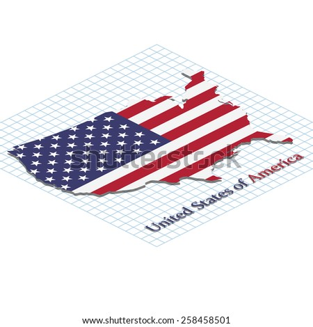 United states of America. Map with flag of America. Isometric grid. Elements of this image furnished by NASA. Vector.  - stock vector