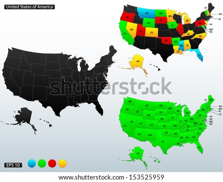 United States of America map, with internal boundaries and state names initials included, fully editable, vector - stock vector