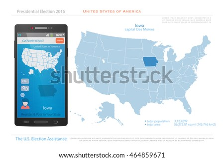 United States America Map Iowa Territory Stock Vector - Iowa on a us map