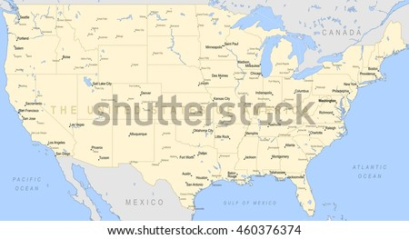 United States America Political Map Detailed Stock Vector