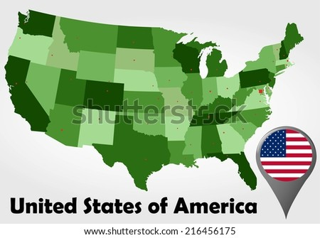 United States of America political map with green shades and map pointer. - stock vector