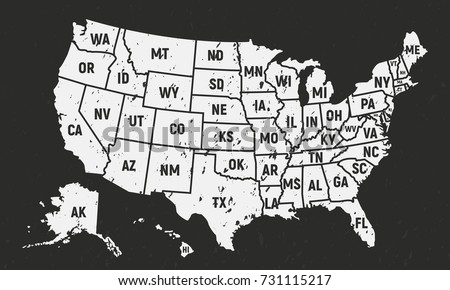 United States America Retro Poster Map Stock Vector - Map of the us with state names