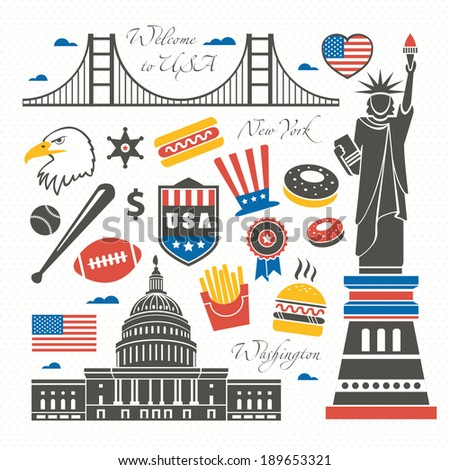 United States of America set - stock vector
