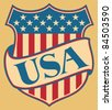 UNITED STATES OF AMERICA shield (USA - american patriotic symbol) - stock vector